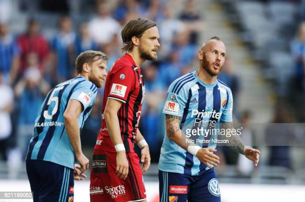 Magnus Eriksson of Djurgardens IF reacts during the Allsvenskan match between Djurgardens IF and Ostersunds FK at Tele2 Arena on July 23 2017 in...
