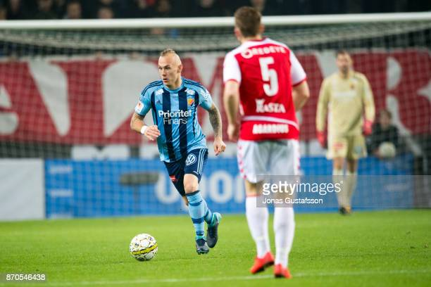 Magnus Eriksson of Djurgardens IF running with the ball during the allsvenskan match between Kalmar FF and Djurgarden IF at Guldfageln Arena on...