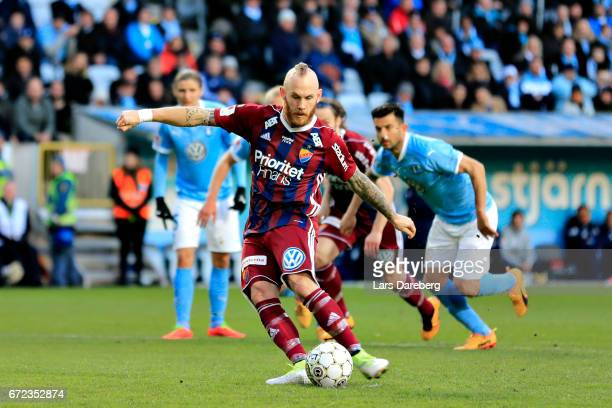 Magnus Eriksson of Djurgardens IF score 11 during the Allsvenskan match between Malmo FF and Djurgardens IF at Swedbank Stadion on April 24 2017 in...