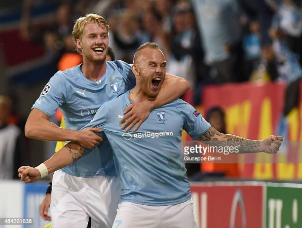 Magnus Eriksson of Malmo celebrates after scoring the goal 20 during UEFA Champions League qualifying playoffs round second leg match between Malmo...