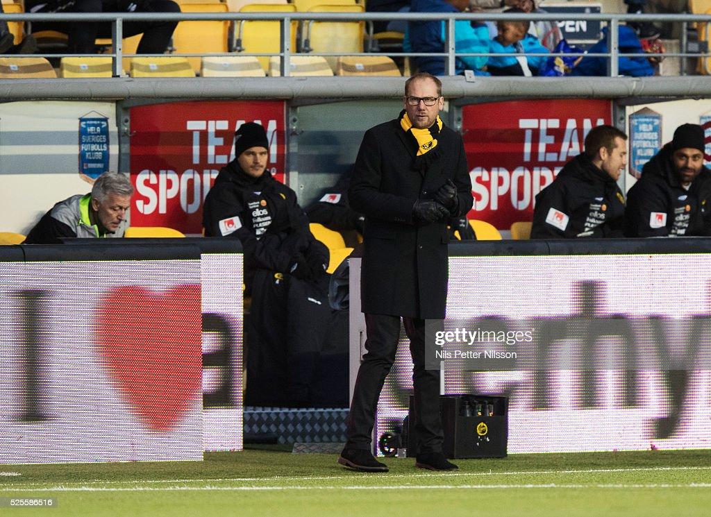Magnus Haglund, head coach of IF Elfsborg during the Allsvenskan match between IF Elfsborg and Djurgardens IF at Boras Arena on April 28, 2016 in Boras, Sweden.