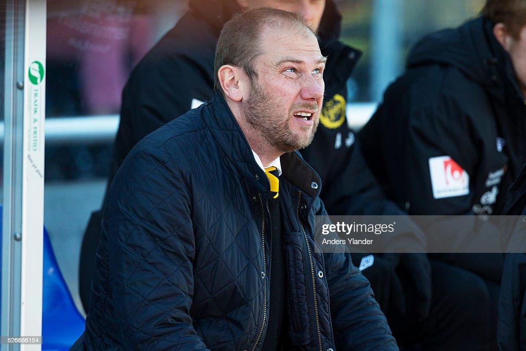 Magnus Haglund, head coach of IF Elfsborg during the Allsvenskan match between Falkenbergs FF and IF Elfsborg at Falkenbergs IP on May 1, 2016 in Falkenberg, Sweden.
