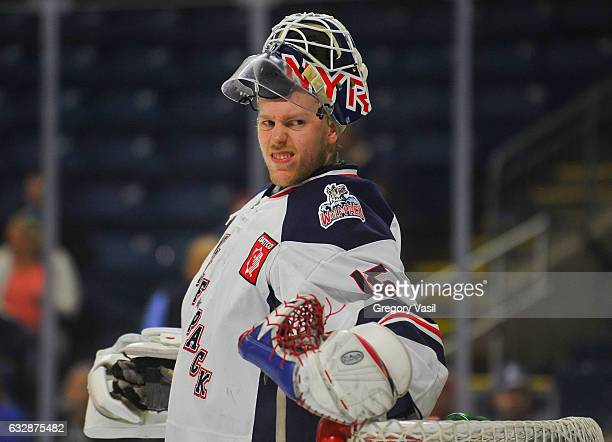 Magnus Hellberg of the Hartford Wolf Pack warms up prior to the game against the Bridgeport Sound Tigers at the Webster Bank Arena on January 27 2017...