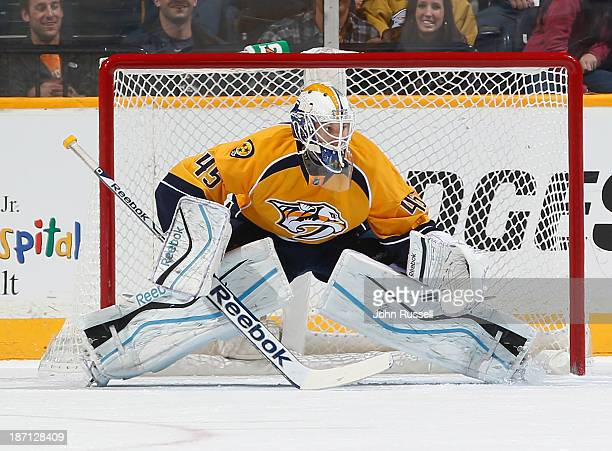 Magnus Hellberg of the Nashville Predators minds the net against the St Louis Blues at Bridgestone Arena on October 26 2013 in Nashville Tennessee