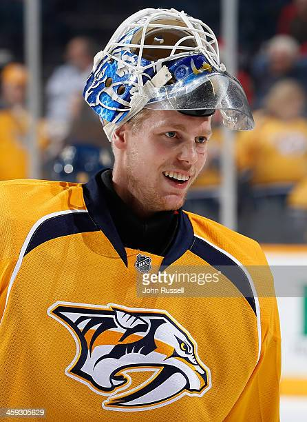 Magnus Hellberg of the Nashville Predators skates in warmups prior to the game against the Chicago Blackhawks at Bridgestone Arena on December 17...