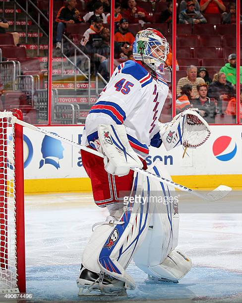 Magnus Hellberg of the New York Rangers defends his net in the second period against the Philadelphia Flyers on April 7 2015 at the Wells Fargo...
