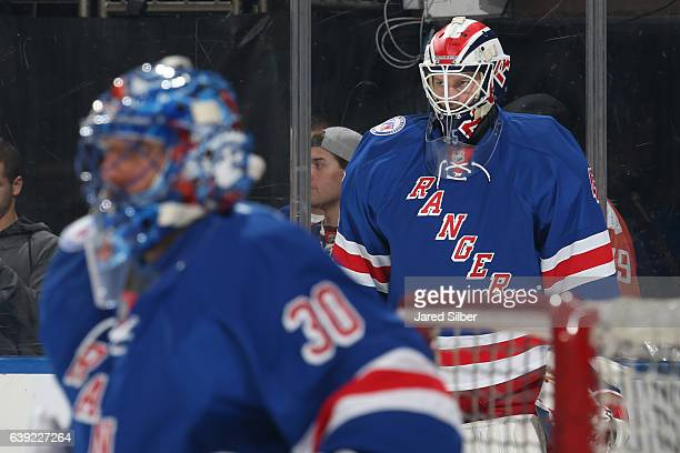 Magnus Hellberg of the New York Rangers looks on during pregame warmups before the game against the Dallas Stars at Madison Square Garden on January...