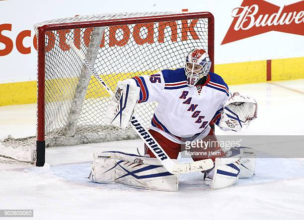 Magnus Hellberg of the New York Rangers protects the net during warmup before an NHL game against the Winnipeg Jets at the MTS Centre on December 18...