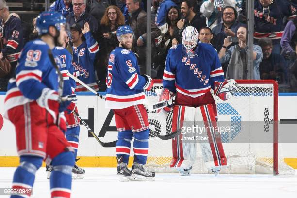 Magnus Hellberg of the New York Rangers reacts after getting the 32 win against the Pittsburgh Penguins at Madison Square Garden on April 9 2017 in...