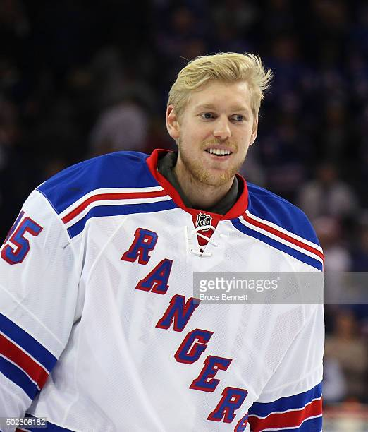 Magnus Hellberg of the New York Rangers skates off the ice following a 32 victory over the Anaheim Ducks at Madison Square Garden on December 22 2015...