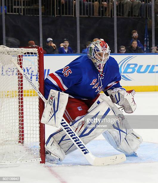 Magnus Hellberg of the New York Rangers tends net against the Washington Capitals at Madison Square Garden on December 20 2015 in New York City The...