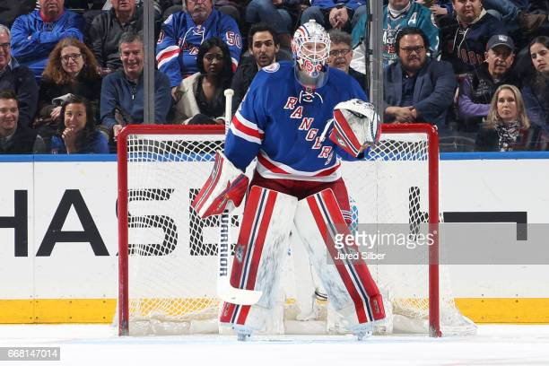 Magnus Hellberg of the New York Rangers tends the net against the Pittsburgh Penguins at Madison Square Garden on April 9 2017 in New York City The...