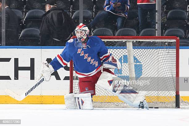 Magnus Hellberg of the New York Rangers tends the net during pregame warmups before the game against the Dallas Stars at Madison Square Garden on...