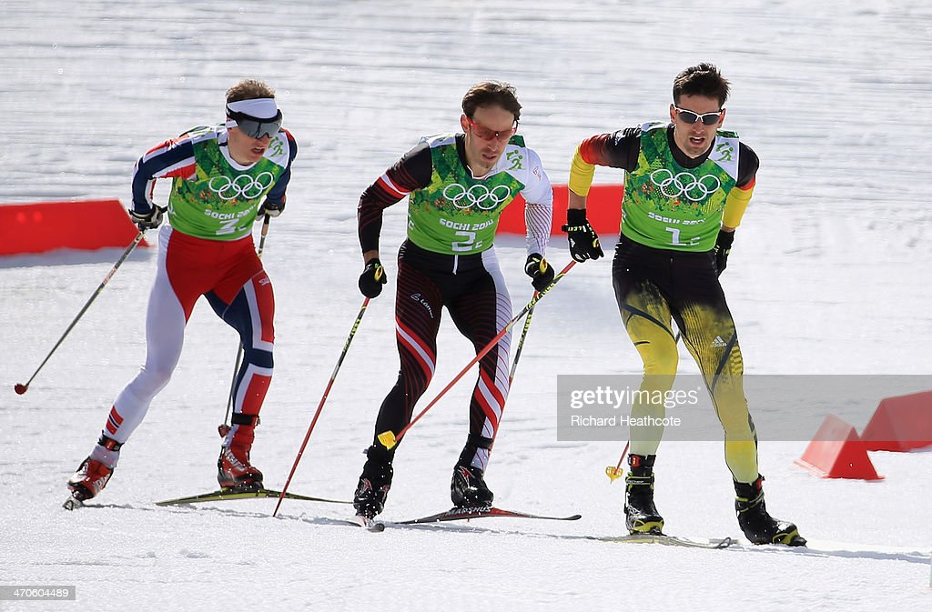 Magnus Hovdal Moan of Norway, <a gi-track='captionPersonalityLinkClicked' href=/galleries/search?phrase=Christoph+Bieler&family=editorial&specificpeople=724610 ng-click='$event.stopPropagation()'>Christoph Bieler</a> of Austria and Bjoern Kircheisen of Germany compete in the Nordic Combined Men's Team 4 x 5 km during day 13 of the Sochi 2014 Winter Olympics at RusSki Gorki Jumping Center on February 20, 2014 in Sochi, Russia.