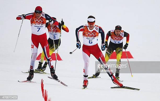 Magnus Hovdal Moan of Norway Fabian Riessle of Germany Joergen Graabak of Norway and Bjoern Kircheisen of Germany compete in the Nordic Combined...