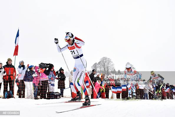 Magnus Hovdal Moan of Norway takes 1st place during the FIS Nordic Combined World Cup Team Sprint on January 11 2015 in ChauxNeuve France