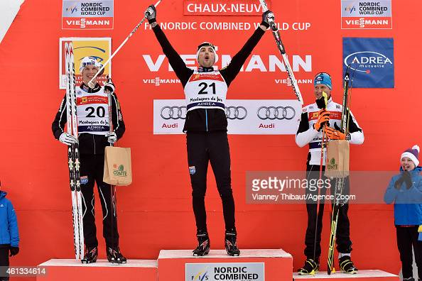 Magnus Hovdal Moan of Norway takes 1st place Magnus Krog of Norway takes 2nd place Bernhard Gruber of Austria takes 3rd place during the FIS Nordic...