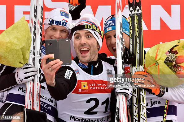 Magnus Hovdal Moan of Norway takes 1st place Magnus Krog of Norway takes 2nd place Bernhard Gruber of Austria takes 3rd place all take a selfie...
