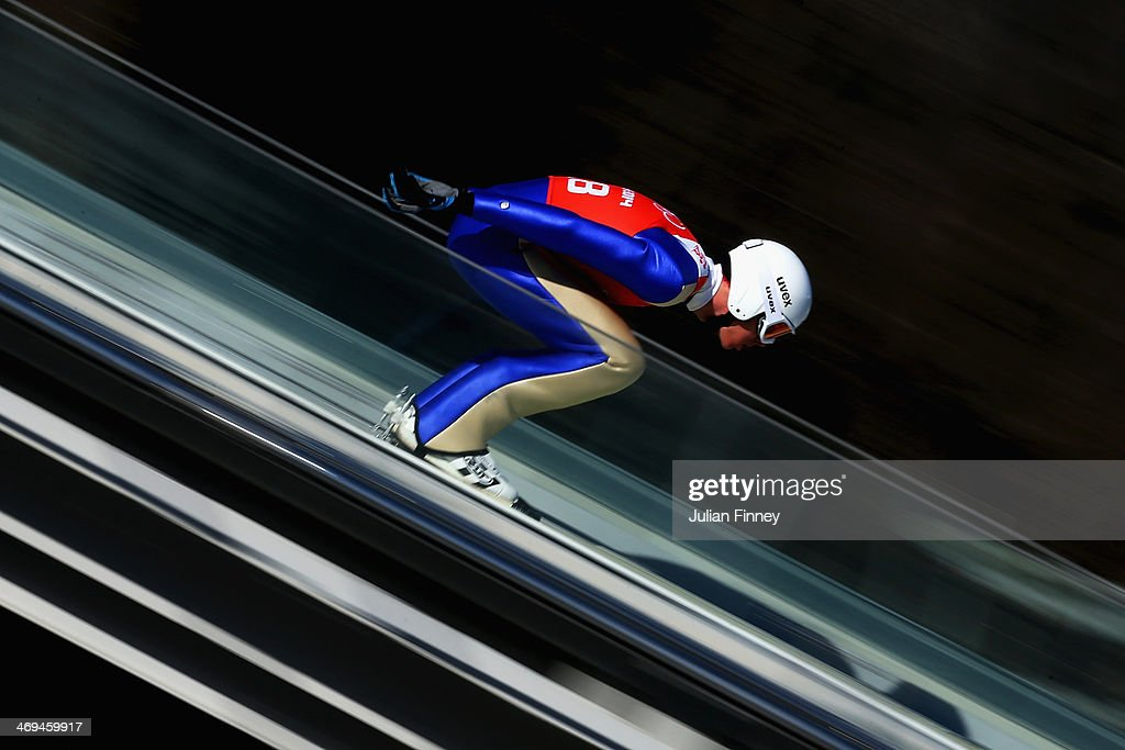 Magnus Hovdal of Norway on the runway before a jump during the Men's Individual Gundersen Large Hill/10 km Nordic Combined training on day 8 of the Sochi 2014 Winter Olympics at the RusSki Gorki Ski Jumping Center on February 15, 2014 in Sochi, Russia.