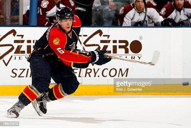 Magnus Johansson of the Florida Panthers passes the puck against the Colorado Avalanche at the Bank Atlantic Center on January 13 2008 in Sunrise...