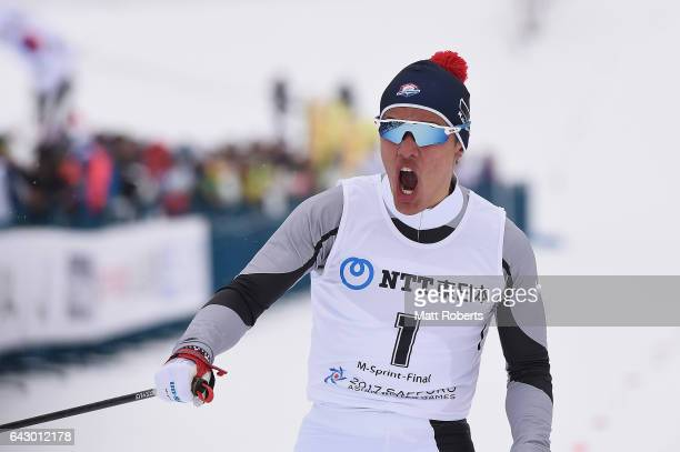 Magnus Kim of Korea celebrats winning the Men's Cross Country 14 km Individual Sprint Classical on day three of the 2017 Sapporo Asian Winter Games...