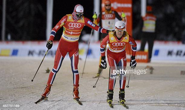 Magnus Krog and Mikko Kokslien of Norway compete during the Nordic Combined 4x5 relay competition at the FIS World Cup Ruka Nordic Opening in Kuusamo...