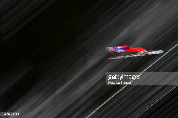 Magnus Krog of Norway competes in the Men's Nordic Combined HS130 Ski Jumping / 2 x 75km Team Sprint Cross Country during the FIS Nordic World Ski...