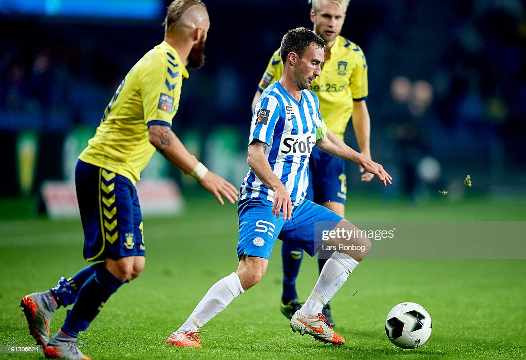 Magnus Lekven of Esbjerg fB in action during the Danish Alka Superliga match between Brondby IF and Esbjerg fB at Brondby Stadion on October 4, 2015 in Brondby, Denmark.