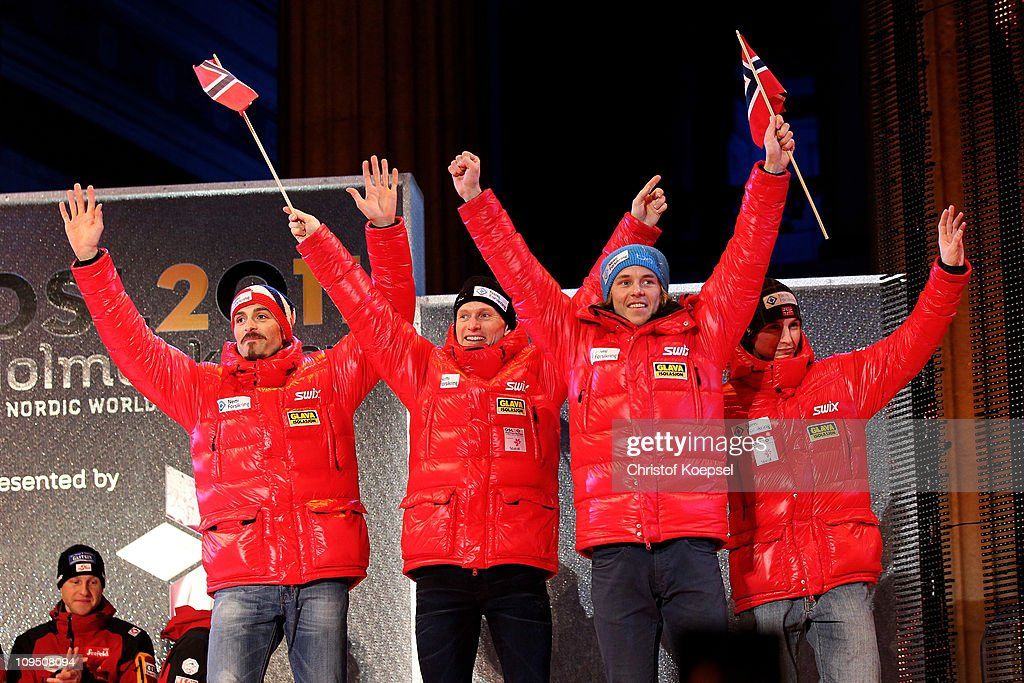 Magnus Moan Haavard Klemetsen Mikko Kokslien and Tom Hilde of Norway pose with the bronze medals won in the Nordic Combined Team 4x5km race during...