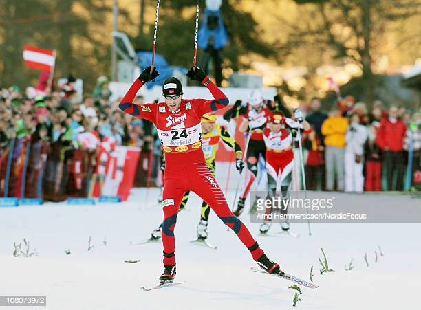Magnus Moan of Norway celebrates his victory in the Gundersen Ski Jumping HS 109/10km Cross Country event during day two of the FIS World Cup Nordic...