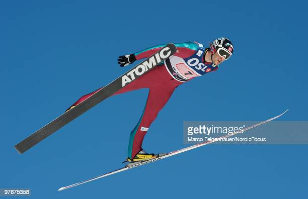Magnus Moan of Norway competes in the team Gundersen Ski Jumping HS 134 event during day one of the FIS Nordic Combined World Cup on March 13 2010 in...