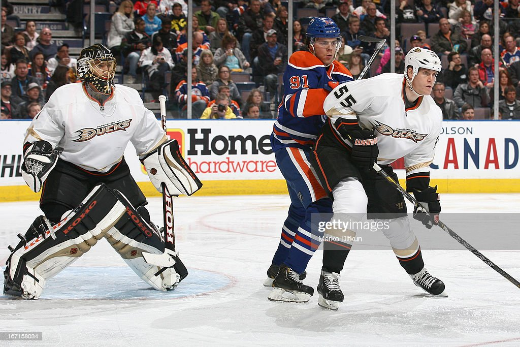 Magnus Paajarvi #91 of the Edmonton Oilers battles for position in front of the net against <a gi-track='captionPersonalityLinkClicked' href=/galleries/search?phrase=Bryan+Allen+-+Ice+Hockey+Player&family=editorial&specificpeople=206454 ng-click='$event.stopPropagation()'>Bryan Allen</a> #55 of the Anaheim Ducks on April 21, 2013 at Rexall Place in Edmonton, Alberta, Canada.