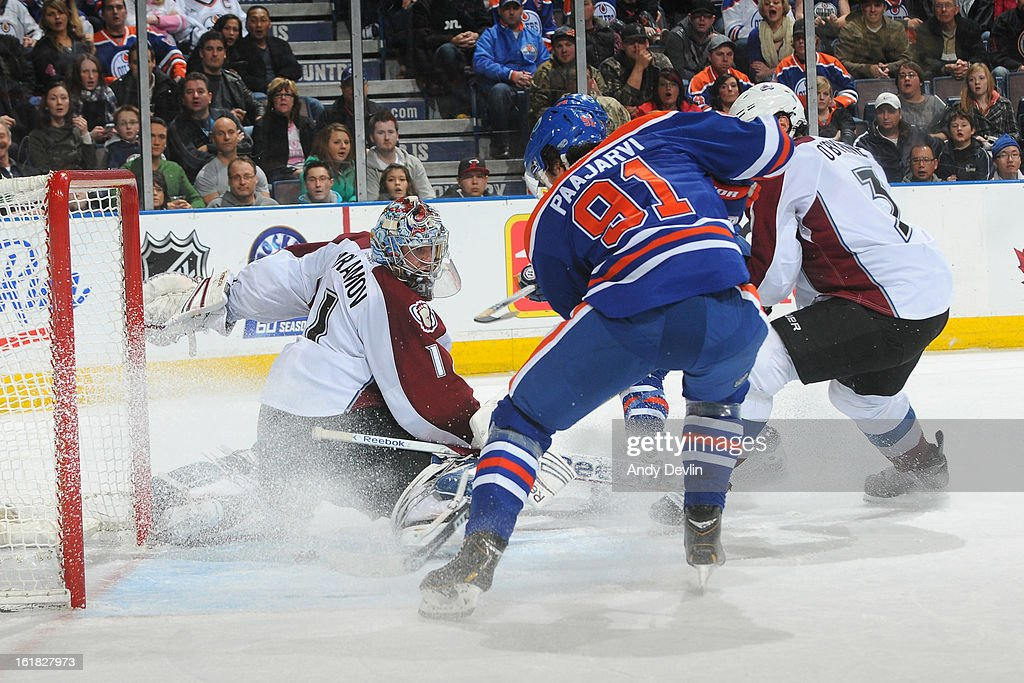 Magnus Paajarvi #91 of the Edmonton Oilers scores the game-winning goal against the Colorado Avalanche on February 16, 2013 at Rexall Place in Edmonton, Alberta, Canada.