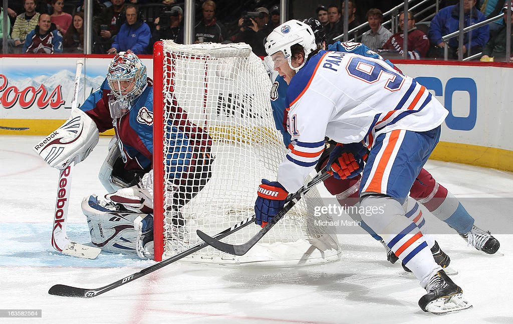 Magnus Paajarvi #91 of the Edmonton Oilers shoots against Goaltender <a gi-track='captionPersonalityLinkClicked' href=/galleries/search?phrase=Semyon+Varlamov&family=editorial&specificpeople=6264893 ng-click='$event.stopPropagation()'>Semyon Varlamov</a> #1 of the Colorado Avalanche at the Pepsi Center on March 12, 2013 in Denver, Colorado.