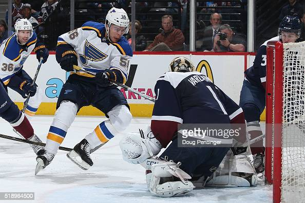 Magnus Paajarvi of the St Louis Blues gets the puck past goalie Semyon Varlamov of the Colorado Avalanche for a goal to take a 20 lead in the first...