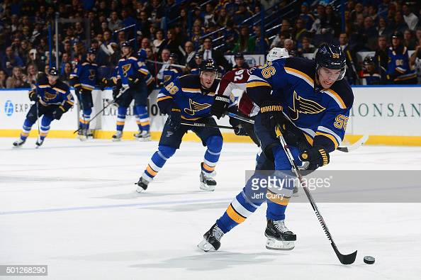 Magnus Paajarvi of the St Louis Blues handles the puck against the Colorado Avalanche on December 13 2015 at Scottrade Center in St Louis Missouri