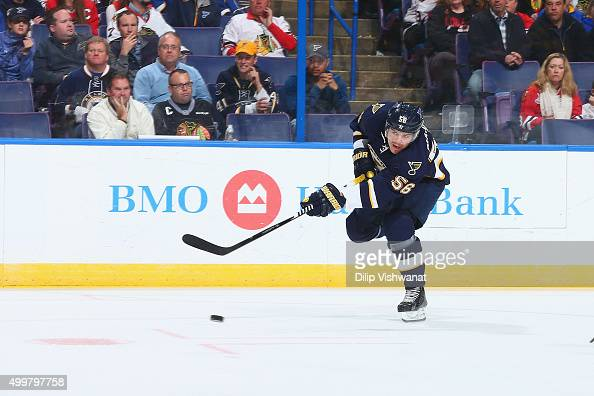 Magnus Paajarvi of the St Louis Blues shoots the puck against the Chicago Blackhawks at the Scottrade Center on November 14 2015 in St Louis Missouri