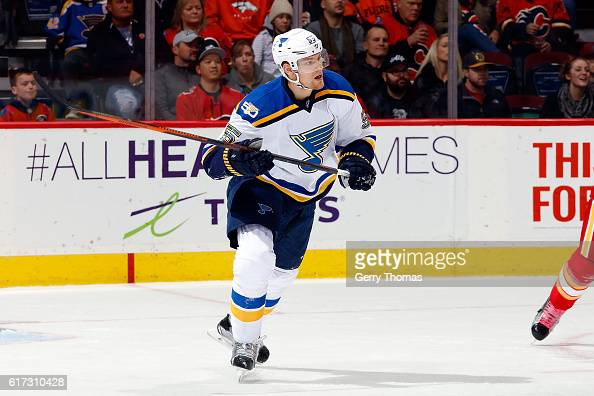 Magnus Paajarvi of the St Louis Blues skates against the Calgary Flames during an NHL game on October 22 2016 at the Scotiabank Saddledome in Calgary...