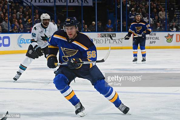 Magnus Paajarvi of the St Louis Blues skates against the San Jose Sharks at the Scottrade Center on February 4 2016 in St Louis Missouri