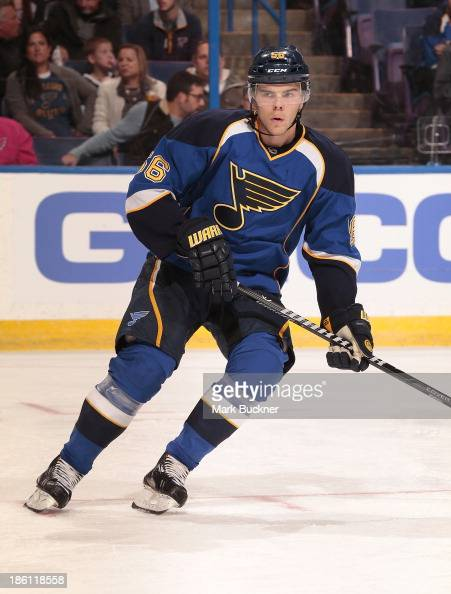 Magnus Paajarvi of the St Louis Blues skates against the Vancouver Canucks on October 25 2013 at Scottrade Center in St Louis Missouri
