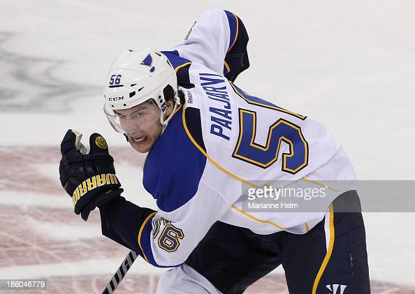 Magnus Paajarvi of the St Louis Blues skates down the ice in third period action in an NHL game against the Winnipeg Jets at the MTS Centre on...