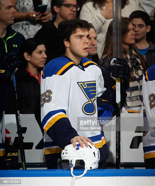 Magnus Paajarvi of the St Louis Blues waits for play to begin against the New York Islanders at the Nassau Veterans Memorial Coliseum on December 6...