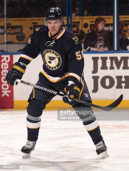 Magnus Paajarvi of the St Louis Blues warms up prior to an NHL game against the Detroit Red Wings on April 13 2014 at Scottrade Center in St Louis...