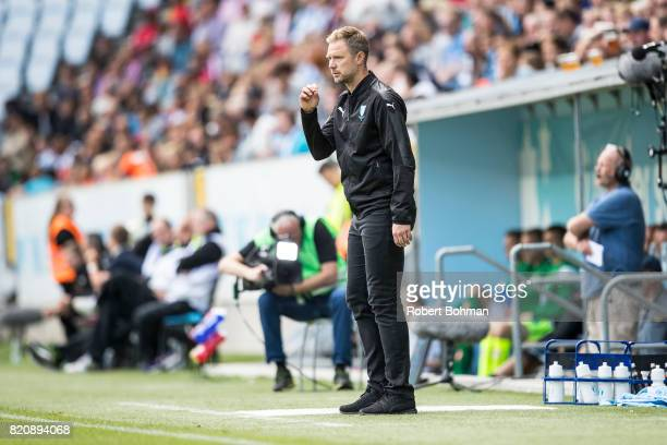 Magnus Pehrsson head coach of Malmo FF during the Allsvenskan match between Malmo FF and Jonkopings Sodra IF at Swedbank Stadion on July 22 2017 in...