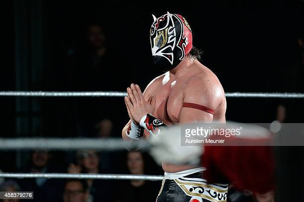 Magnus performs onstage during the EXOTICOS VS LUCHADORES Lucha Libre Show hosted by La Fondation Cartier in Paris on November 3 2014 in Paris France