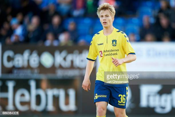 Magnus Warming of Brondby IF looks on during the Danish Alka Superliga match between SonderjyskE and Brondby IF at Sydbank Park on May 21 2017 in...
