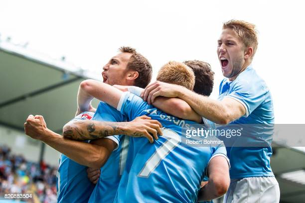 Magnus Wolf Eikrem of Malmo FF and Anton Tinnerholm of Malmo FF celebrates after scoring during the Allsvenskan match between Malmo FF and Jonkopings...