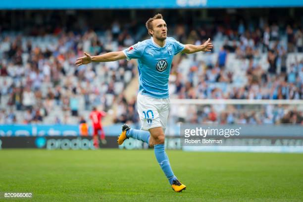 Magnus Wolf Eikrem of Malmo FF celebrates after scoring during the Allsvenskan match between Malmo FF and Jonkopings Sodra IF at Swedbank Stadion on...