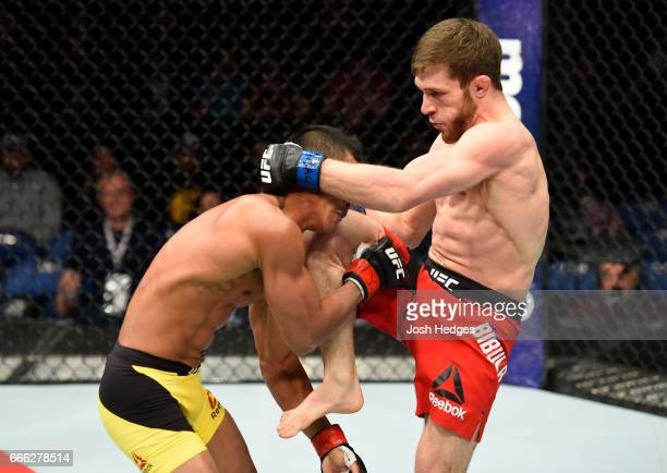 Magomed Bibulatov of Russia lands a kick on Jenel Lausa of the Philippines in their flyweight bout during the UFC 210 event at KeyBank Center on...
