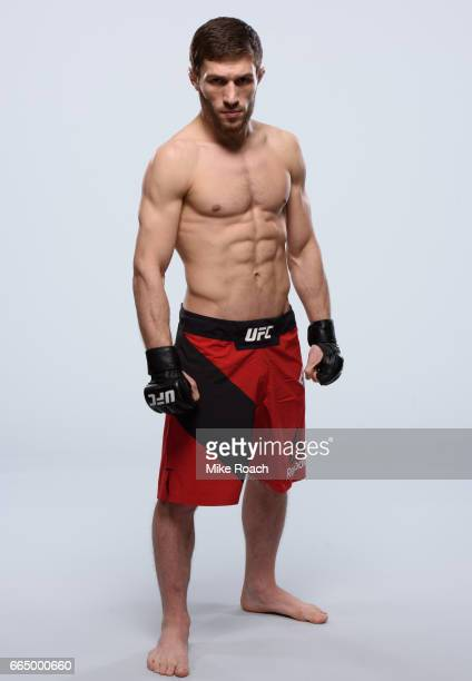 Magomed Bibulatov of Russia poses for a portrait during a UFC photo session inside the Buffalo Marriott HarborCenter on April 5 2017 in Buffalo New...